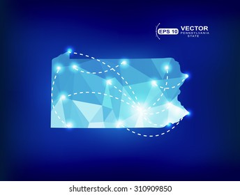 Pennsylvania US state map polygonal with spot lights places