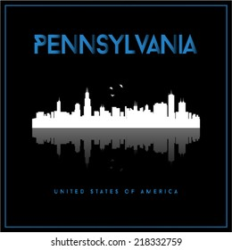 Pennsylvania, USA skyline silhouette vector design on black background.