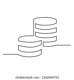 Penny cents are drawn in one black line on a white background. Continuous line drawing. Vector