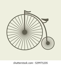 Penny farthing bicycle vintage retro logo isolated antique vector stock