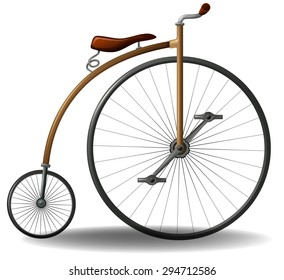 Penny farthing vintage bicycle with one big wheel and one small