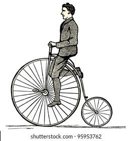 """Penny farthing - vintage engraved illustration - """"Dictionnaire encyclopedique universel illustre"""" By Jules Trousset - 1891 Paris"""