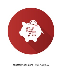 Penny piggy bank with percent flat design long shadow glyph icon. Deposit interest rate. Saving money. Vector silhouette illustration