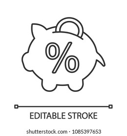 Penny piggy bank with percent linear icon. Deposit interest rate. Thin line illustration. Saving money. Contour symbol. Vector isolated outline drawing. Editable stroke