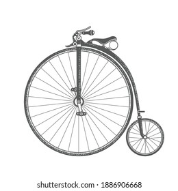 Penny-farthing, retro bicycle with large front wheel, vintage bike of 1870s, vector