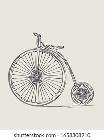 Penny-farthing retro bicycle, vector sketch