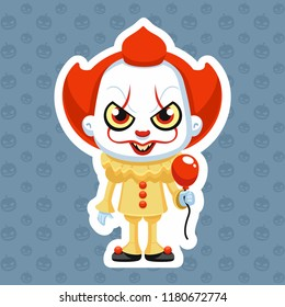 pennywise vector illustration clown halloween costume character sticker balloon