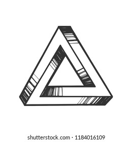Penrose impossible tribar triangle engraving vector illustration. Scratch board style imitation. Black and white hand drawn image.