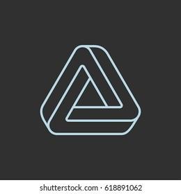 Penrose optical illusion, impossible triangle logo. Modern stylish symbol design vector illustration.