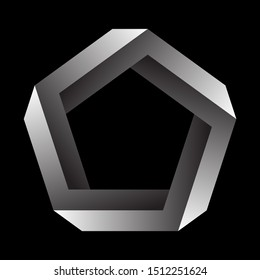 Penrose pentagon on black background. Impossible object or impossible figure or an undecidable figure.