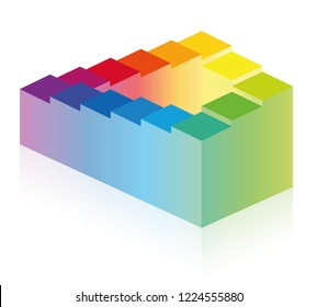 Penrose stairs. Optical illusion of an impossible staircase, symbolic for infinity, eternity and impossibility or for a long, endless or arduous and paradox path. Rainbow colored illustration on whit