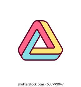 Penrose trialngle icon. Impossible geometric shape, bright color logo design vector illustration.