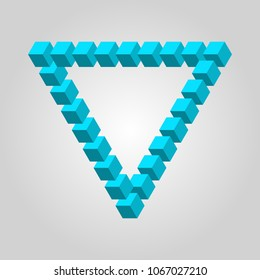 Penrose triangle constructed of blocks isometric icon. Penrose triangle symbol. 3d design. Stock - Vector illustration