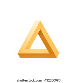 Penrose triangle icon. Impossible triangle shape. Optical Illusion. Vector Illustration isolated on white
