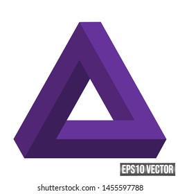 Penrose Triangle Impossible Object Optical Illusion Impossible Tribar EPS10 Vector