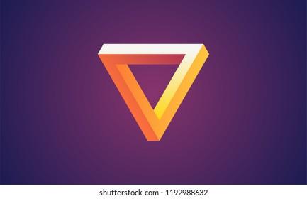 Penrose triangle. Optical illusion. 3d isometric vector illustration. Purpel gradient.