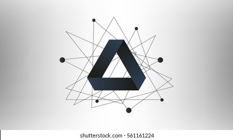 Penrose triangle vector illustration. Background with triangle logo.