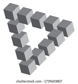 Penrose triangle vector. Impossible shape design
