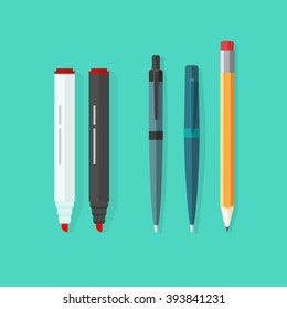 Pens, pencil, markers vector set isolated on green background, ballpoint pens, lead orange dot pen with red rubber eraser, flat biro pen and pencils, stationery set cartoon illustration design