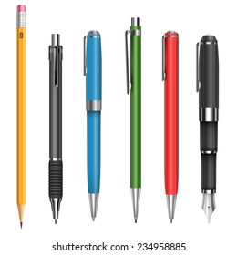 Pens and pencils collection isolated on white
