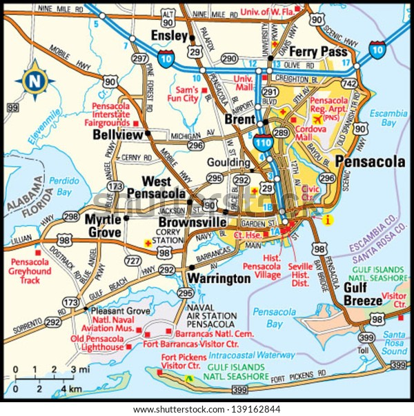 Florida Area Map.Pensacola Florida Area Map Stock Vector Royalty Free 139162844