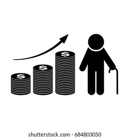 Pension fund growth icon. Retirement plan. Finance investment and saving silhouette vector illustration