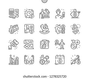 Pension Funds Well-crafted Pixel Perfect Vector Thin Line Icons 30 2x Grid for Web Graphics and Apps. Simple Minimal Pictogram