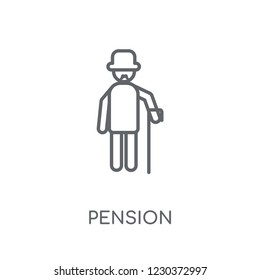 Pension linear icon. Modern outline Pension logo concept on white background from Human Resources collection. Suitable for use on web apps, mobile apps and print media.