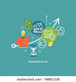Pension plan concept illustration with financial and accounting icons and symbols such as piggy bank, cash money, coins, savings, time period, etc.