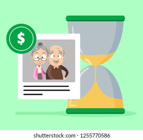 Pension and retirement savings poster vector illustration. Future financial investment and payment pension fund superannuation for elderly people flat style design