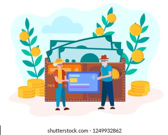 Pension savings Bank retirement account, the concept of accumulation of money, help old people in the savings. Wallet with credit cards, banknotes and coins. Vector illustration.