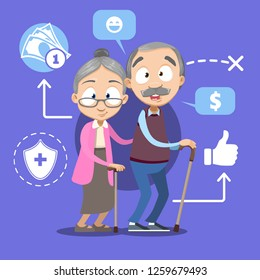 Pension savings and planning poster vector illustration. Template with elderly couple financial and accounting icons and symbols such as cash money savings and insurance