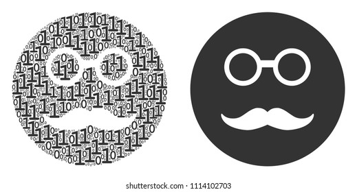 Pension smiley mosaic icon of zero and null digits in randomized sizes. Vector digit symbols are formed into pension smiley illustration design concept.