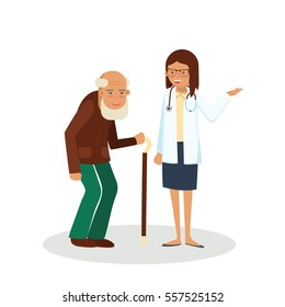 Pensioner with doctor. Old man with doctor. Care for the elderly vector illustration. Old man and young doctor woman on white background.