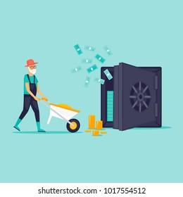 Pensioner puts money in the safe. Flat design vector illustration.