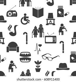 pensioner senior citizen theme set of icons seamless pattern eps10