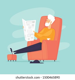 Pensioner sitting in a chair reading a newspaper. Flat design vector illustration.