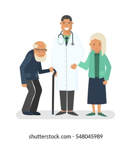 Pensioners with doctor vector illustration. Old man and lady with doctor. Care for the elderly concept illustration.