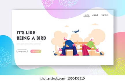 Pensioners Feed Pigeons Website Landing Page. Happy Senior Couple Spend Time Outdoors Sitting in Park at Warm Day Giving Bread Crumbs to Birds around Web Page Banner. Cartoon Flat Vector Illustration