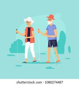Pensioners, jogging with sticks. Flat design vector illustration.