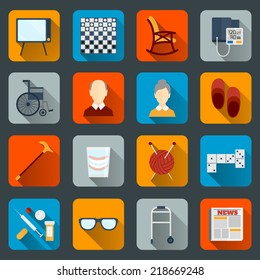 Pensioners life flat icons set of tv checkers rocking chair isolated vector illustration