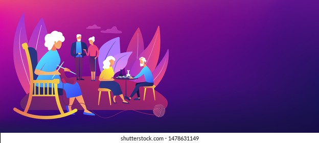 Pensioners pastime at senior home. Aged couple playing chess. Activities for seniors, elderly active lifestyle, older people time spending concept. Header or footer banner template with copy space.