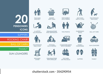 pensioners vector set of modern simple icons