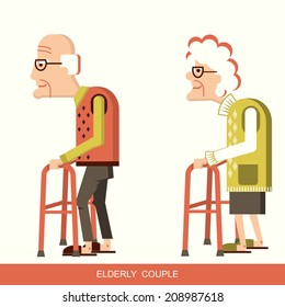pensioners with walking sticks.Vector illustration isolated