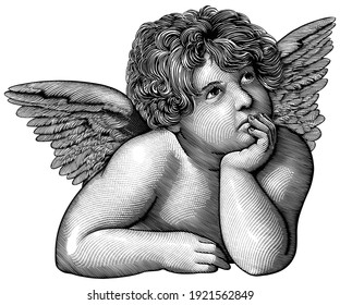 Pensive angel. Art detailed editable illustration. Vector vintage engraving. Isolated on white background. 8 EPS