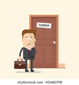 Pensive businessman or manager standing in front of a closed door. A man with a suitcase in a business suit with a tie. Man in confusion. Cartoon flat vector illustration in modern style.
