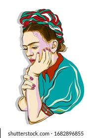 Pensive Frida Kahlo. Magdalena Carmen Frida Kahlo, was a Mexican artist who painted many portraits, self-portraits, and works inspired by the nature and artifacts of Mexico.