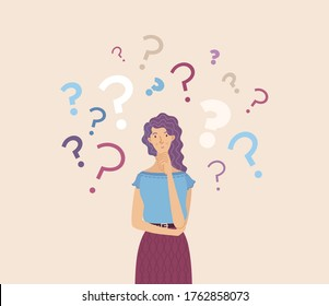 Pensive girl flat vector illustration. Cartoon confused woman character. Frustrated teenager making decision. Vulnerable lady in doubt with hand on chin gesture