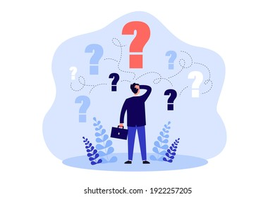 Pensive man standing and making business decision isolated flat vector illustration. Cartoon businessman choosing work strategy for success. Questions dilemma and options confusion concept