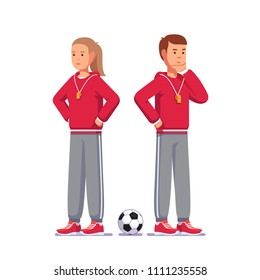 Pensive soccer coach man and woman thinking standing next to soccer ball. Football game coach with whistle on lanyard wearing trainer uniform. Flat style vector clipart illustration isolated on white